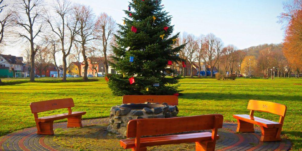 Marktplatz Wiedelah mit Weihnachtsbaum