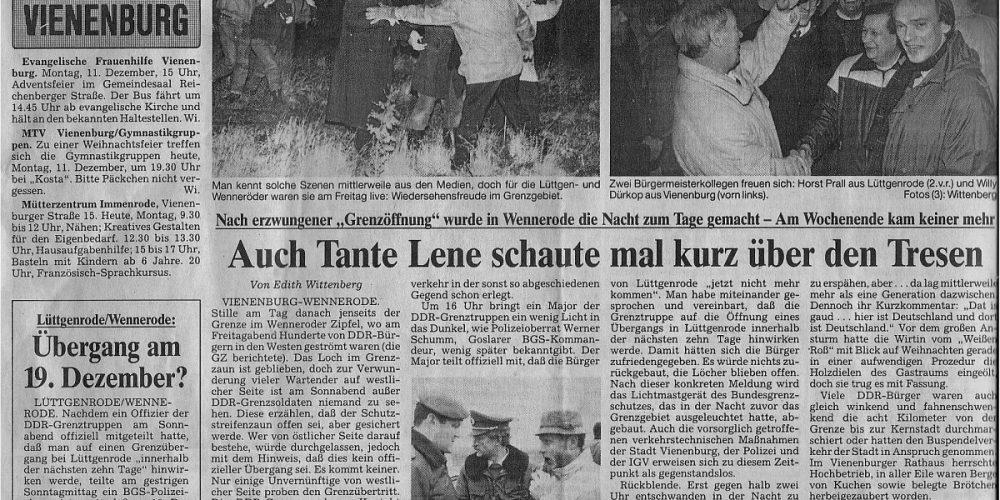 11.12.1989 Grenzöffnung Vienenburg-Lüttgenrode