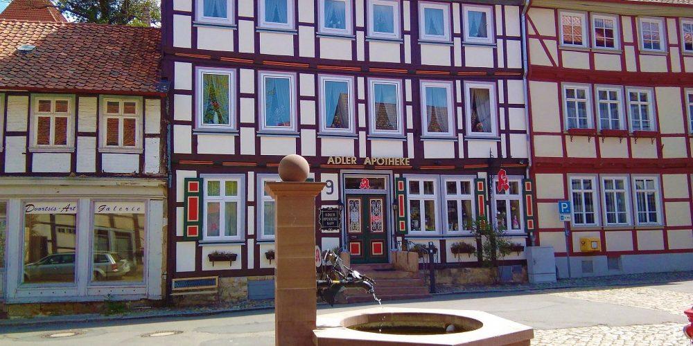 Brunnen auf dem Marktplatz der Hornburger Altstadt